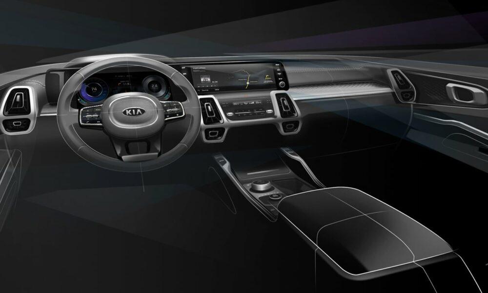 Teaser com visão interior do painel do Kia Sorento 2021