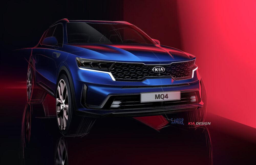 Teaser frontal do novo Kia Sorento 2021 azul