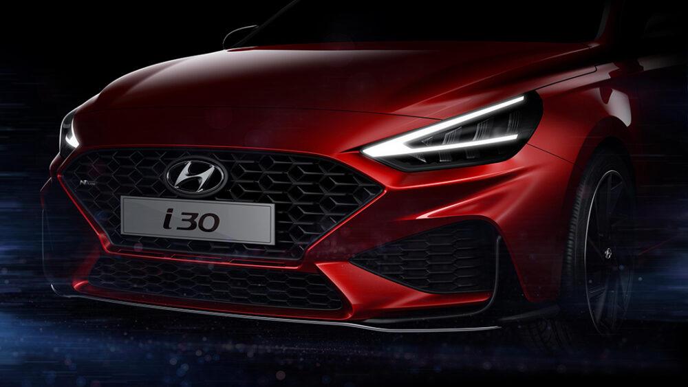 Teaser da frente do novo Hyundai i30, com foco no farol e grade