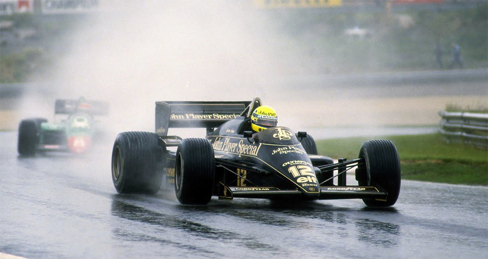 Ayrton Senna no GP de Portugal em 1985 em sua Lotus