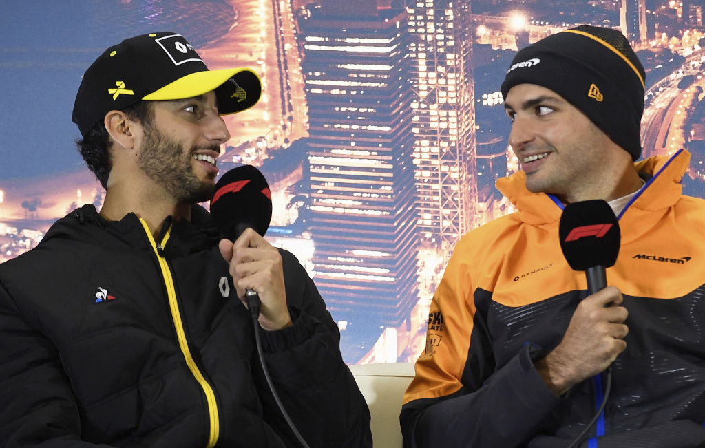 Pilotos de F1 Ricciardo e Sainz