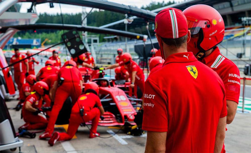 Sebastian Vettel e seu carro Ferrari no GP da Áustria de Fórmula 1