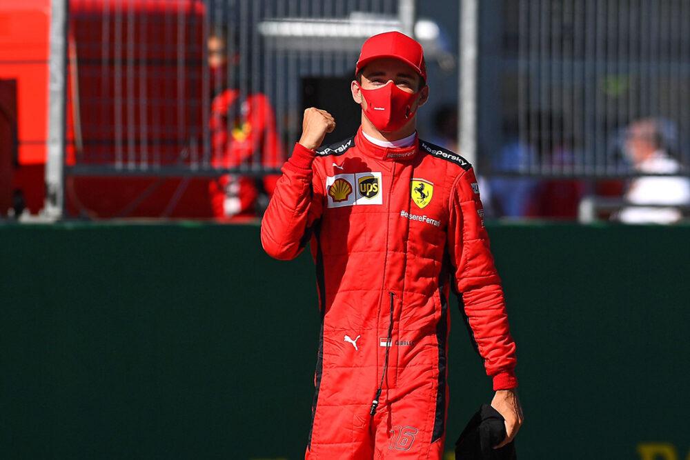 Leclerc comemorando seu pódio no GP da Áustria de F1