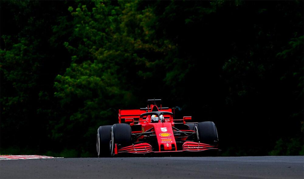 Vettel e sua Ferrari no GP da Hungria de F1 de 2020