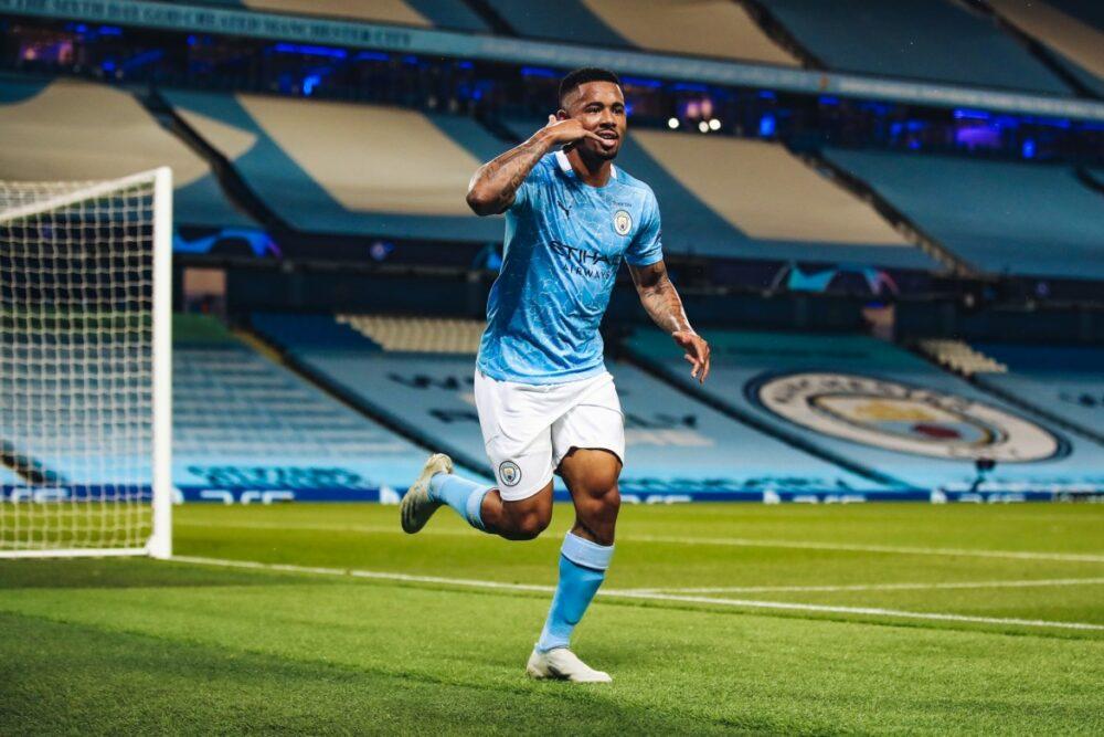 Gabriel Jesus comemorando seu gol contra o Real