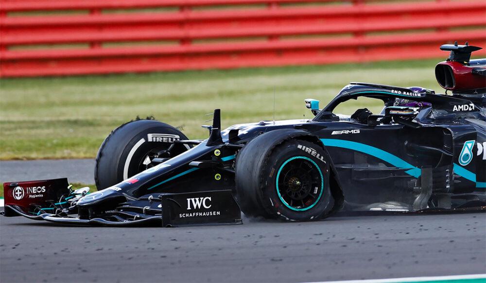Hamilton com os pneus gastos no GP da Grã Bretanha