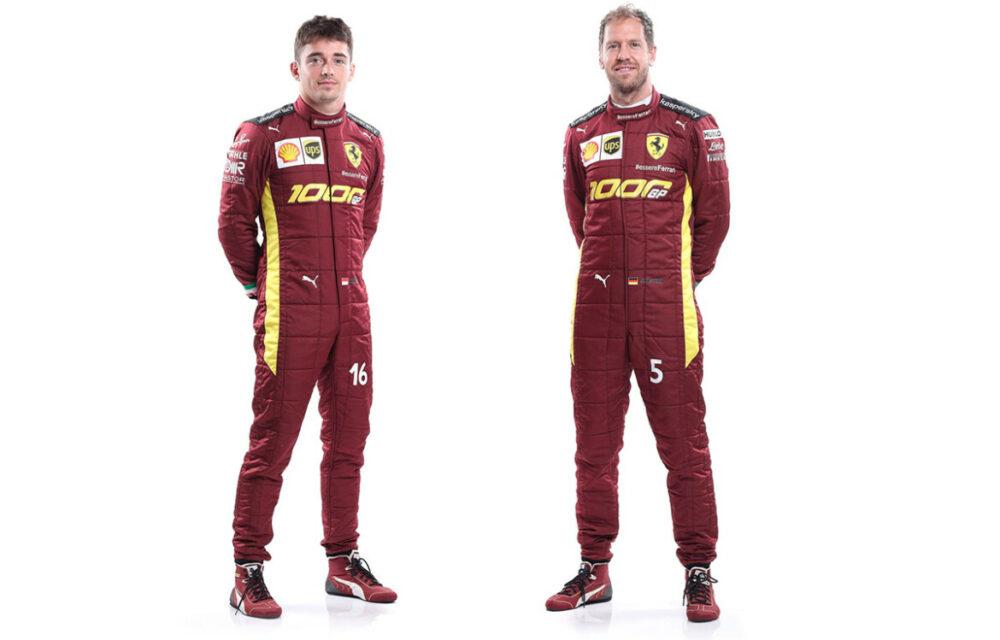 Charles Leclerc e Sebastian Vettel com macacão para o GP 1000 da Ferrari