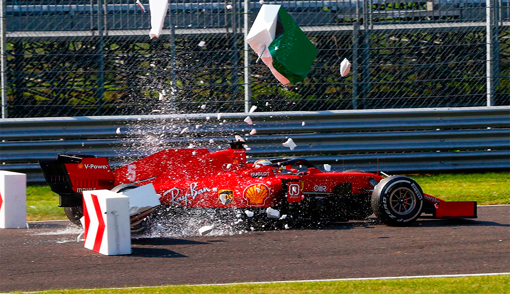Vettel com a Ferrari em Monza em 2020