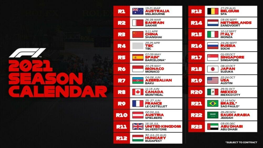 Calendário da F1 para 2021