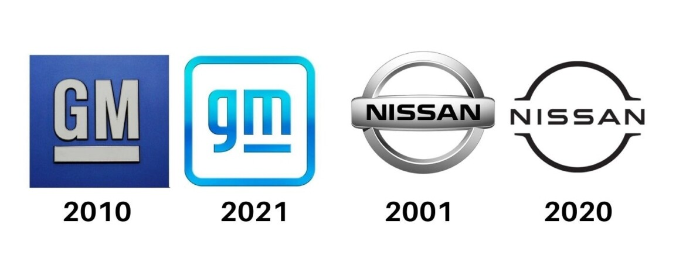 Novos logotipos da GM e Nissan