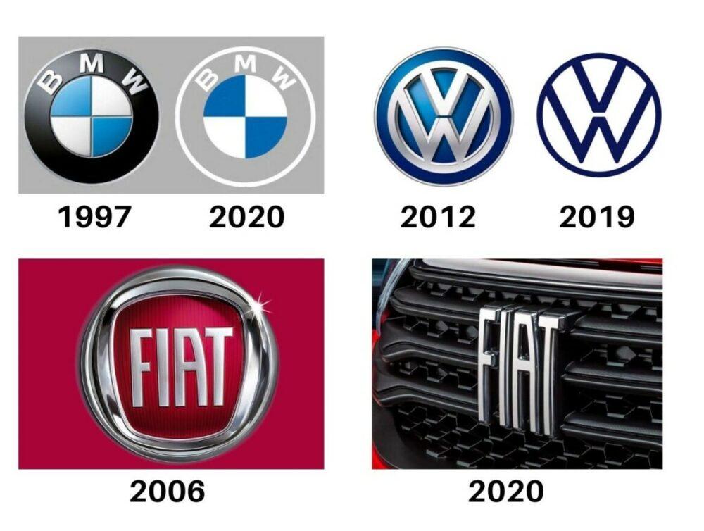 Novos logotipos BMW, Volkswagen e Fiat