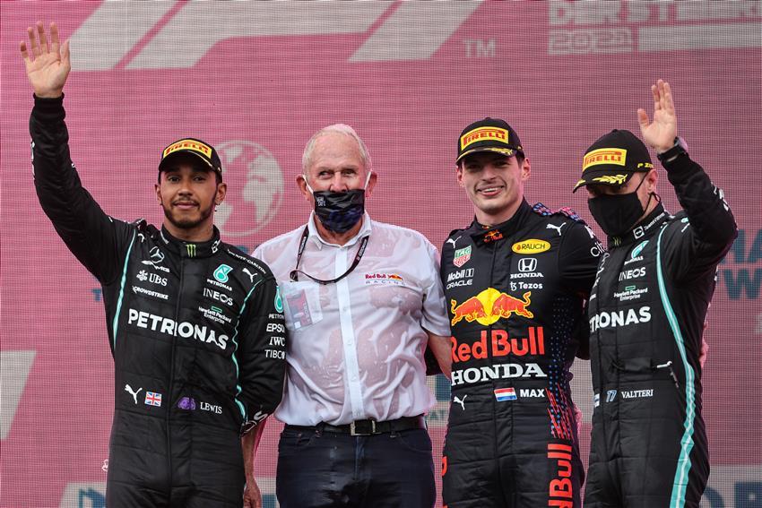 Pódio do GP da Estíria com Max Verstappen, Lewis Hamilton e Valtteri Bottas