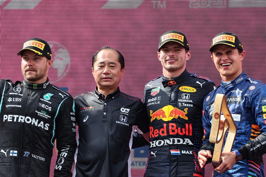 Pódio do GP da Áustria de F1 2021 com Bottas, Verstappen e Norris